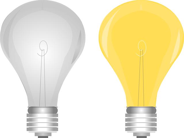 čirá a žlutá žárovka